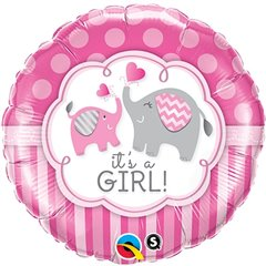 "Balon Folie 18"" It's a Girl Elephants, Qualatex 45106"