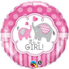 "Balon Folie 18"" It's a Girl Elephants, Qualatex 45106"
