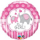Balon Folie 45 cm It's a Girl Elephants, Qualatex 45106