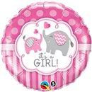 Balon Folie 45 cm It's a Girl Elephants, Qualatex 45106