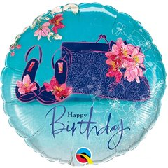 Balon Folie 45 cm Happy Birthday Pantofi si Gentuta, Qualatex 45362
