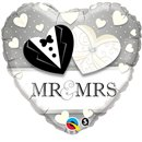 "18"" Heart Foil Mr. & Mrs. Wedding , Qualatex 15711"