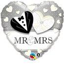 Balon Folie 45 cm Inima Mr & Mrs, Qualatex 15771