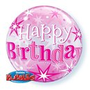 "Balon Bubble 22"" Roz Happy Birthday Stelute, Qualatex 43121"