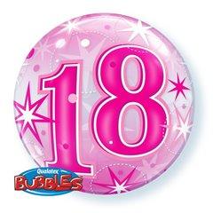 """Balon Bubble 22"""" Roz 18 ani Stelute, Qualatex 43122"""