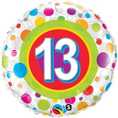 "18"" Round Foil Age 13 Colorful Dots, Qualatex 41132"