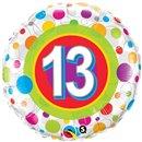 Balon Folie 45 cm Numarul 13 cu Buline, Qualatex 41132