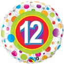 "18"" Round Foil Age 12 Colorful Dots, Qualatex 41128"