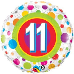 "18"" Round Foil Age 11 Colorful Dots, Qualatex 41124"