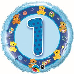 "18"" Round Foil Age 1 Blue Teddies, Qualatex 26277"