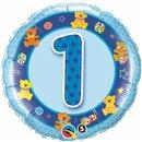 "18"" Round Foil Age 1 Blue Teddies, Qualatex 26277"