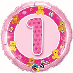 "18"" Round Foil Age 1 Pink Teddies, Qualatex 26281"