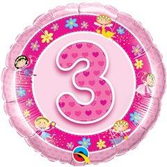 """18"""" Round Foil Age 3 Pink Fairies, Qualatex 26297"""
