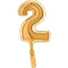Balon micro folie cifra 2 auriu - 18cm, Radar 07022