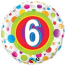 "18"" Round Foil Age 6 Colorful Dots, Qualatex 41104"