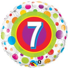 "18"" Round Foil Age 7 Colorful Dots, Qualatex 41108"