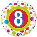 "18"" Round Foil Age 8 Colorful Dots, Qualatex 41112"