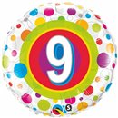 "18"" Round Foil Age 9 Colorful Dots, Qualatex 41116"