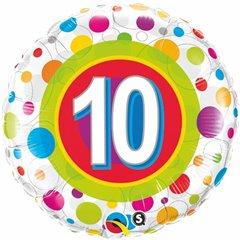 Balon Folie 45 cm Numarul 10 Buline, Qualatex 41120