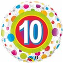 "18"" Round Foil Age 10 Colorful Dots, Qualatex 41120"