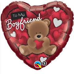 "18"" Heart Foil To My Boyfriend Bear, Qualatex 41320"