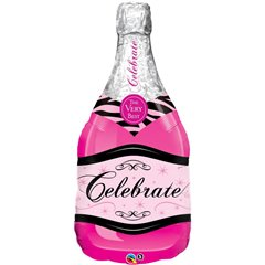 "39"" Bottle Celebrate Pink Bubbly Wine Foil Balloon, Q 15844"