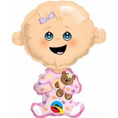 "14"" Shape Foil Baby Girl, Qualatex 49359"
