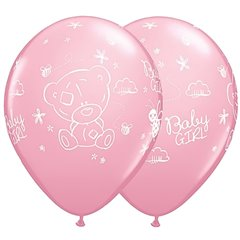 Baloane Latex Roz 28 cm - Me to You Baby Girl, Qualatex 45369, Set 25 buc