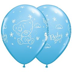 "Tiny Tatty Teddy Baby Boy 11"" Latex Balloons, Qualatex 45370, 25pk"