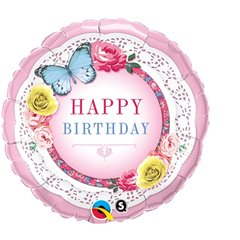 Balon Folie 45 cm Happy Birthday cu Flori si Fluturi, Qualatex 45368