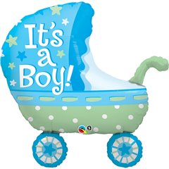 "35"" Shape Foil It's A Boy Baby Stroller, Qualatex 43285"