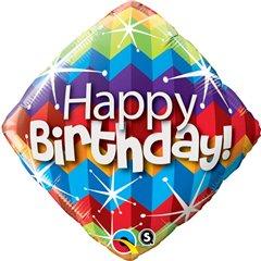 Balon Folie 45 cm Romb Happy Birthday Zig Zag, Qualatex 16815