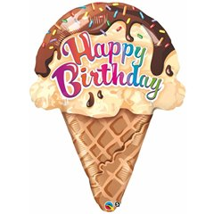 "27"" Shape Foil Birthday Ice Cream Cone, Qualatex 16400"