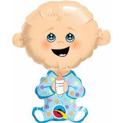 Balon mini figurina bebelus baiat - 36 cm, umflat + bat rozeta, Qualatex 49404