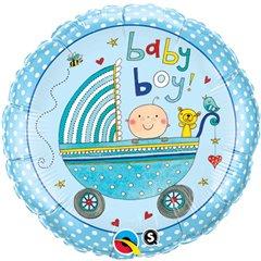 """09"""" Round Foil Rachel Ellen Baby Boy Stroller, Qualatex 50078"""