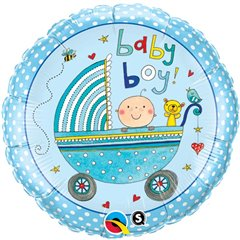 Balon Mini Folie 23 cm Carucior Baby Boy + bat si rozeta, Qualatex 50078