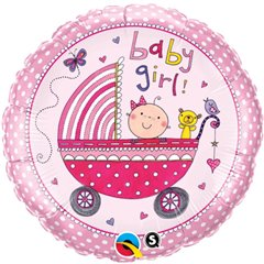 Balon Mini Folie 23 cm Carucior Baby Girl + bat si rozeta, Qualatex 50249