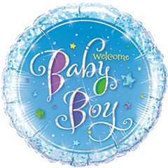Balon Mini Folie 23 cm Welcome Baby Boy + bat si rozeta, Qualatex 41941
