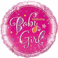 "09"" Round Foil Holographic Welcome Baby Girl Stars, Qualatex 41937"