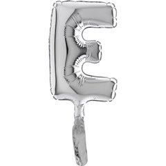 Balon micro folie litera E argintie - 18cm, Radar 07249