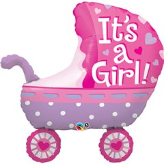 "35"" Shape Foil It's A Girl Baby Stroller, Qualatex 43289"