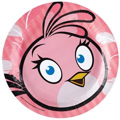 Pink Angry Birds Round Plates 23cm, Amscan RM552542, Pack of 8 Pieces