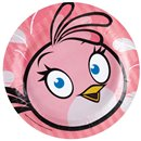 Farfurii petrecere copii 23 cm Angry Birds Pink, Amscan RM552542, Set 8 buc