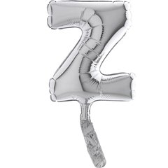 Balon micro folie litera Z argintie - 18cm, Radar 07459