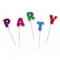 Lumanari aniversare pentru tort cu mesajul Party, Amscan 552531, 1 Set
