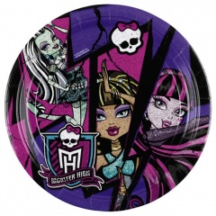 Farfurii petrecere copii 23 cm Monster High2, Amscan 552511, Set 8 buc
