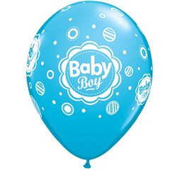"11"" Printed Latex Balloons - Baby Boy Dots, Qualatex 44107"