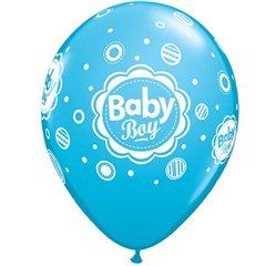 "Baloane latex 11""/28cm inscriptionate Baby Boy , Qualatex 18688, Set 25 buc"