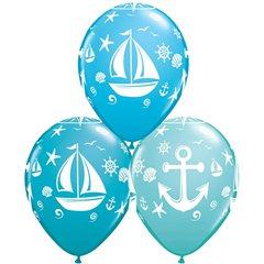 """11"""" Nautical Sailboat And Anchor Latex Balloons, Qualatex 44796"""