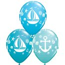"11"" Nautical Sailboat And Anchor Latex Balloons, Qualatex 44796"